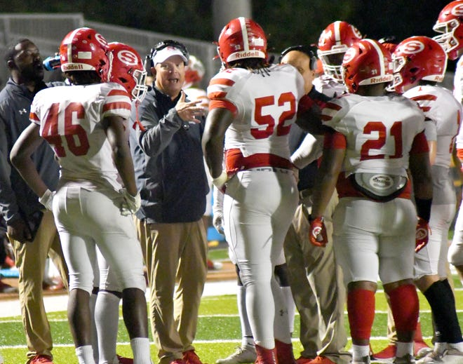 Screven County Head Coach Ron Duncan stresses the importance of the next defensive stand to his Gamecock players Oct. 1 at Metter. SCHS plays this week on Thursday, Oct. 7, at 7 p.m. at the Pooler Recreation Complex against Savannah Christian.