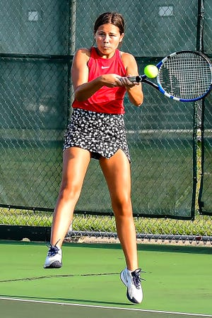 Chillicothe High School tennis Lady Hornets junior Cami Carpenter, seen here in an early-season match against Savannah, teamed with senior Leah Lourenco to win the Class 1 District 15 doubles championship at Excelsior Springs last Friday. The title advances the CHS duo to the state-qualifying sectional match at Lee's Summit later this week.