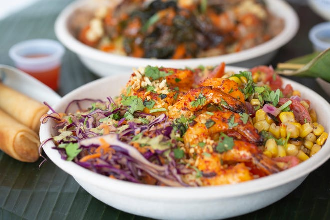 Chili garlic shrimp bowl with lumpia at Boni Filipino Street Food in the Budd Dairy Food Hall