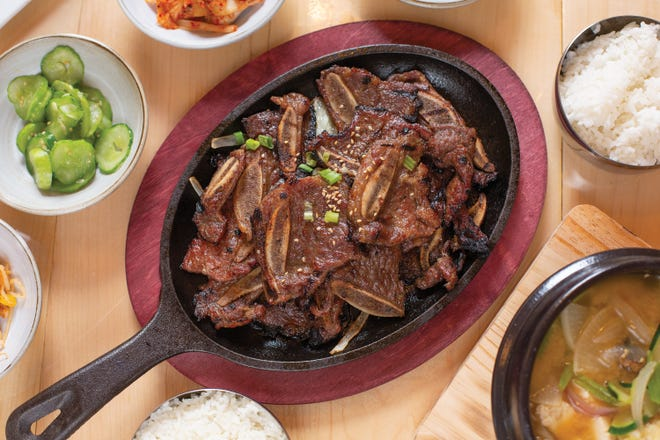 Beef galbi with Korean banchan at Hashi in Granville