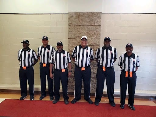 Left to right is Nathaniel O'Neal, D'Juan Hammonds, Christopher McCaleb, Ronald Wilson, Gregory Moore, Keith Dalton. James Kakos is not pictured.