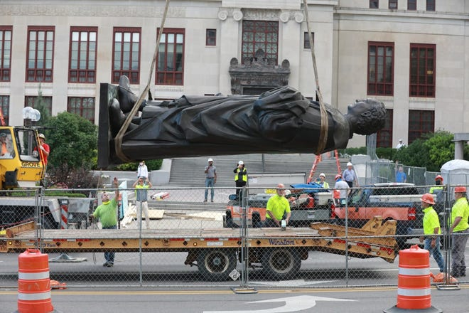 The Christopher Columbus statue was removed from Columbus City Hall in July 2020. It remains part of the city's public art collection and is in storage under the oversight of a conservation professional.