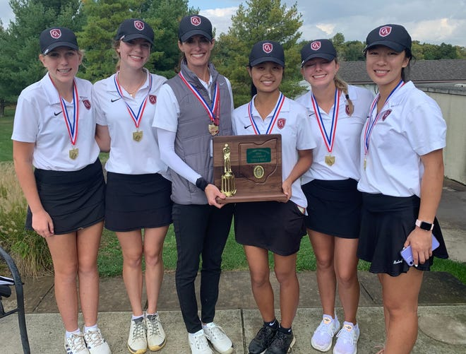The Columbus Academy girls golf team won the Division II district tournament Oct. 4 at Darby Creek to earn its first state berth. From left are Caroline Zeiger, Eliza Freytag, coach Maggie Freytag, Grace Luo, Eva Baker and Angela Hu.