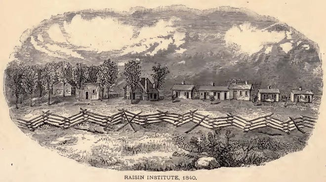 """This drawing of """"Aunt"""" Laura Haviland's Raisin Institute as it appeared in 1840 was reproduced from a painting presented to Laura Haviland's daughter and is reportedly the most accurate depiction of the Institute. The buildings included are """"Aunt"""" Laura's cottage and two general purpose buildings. The others are the school and student dorms."""
