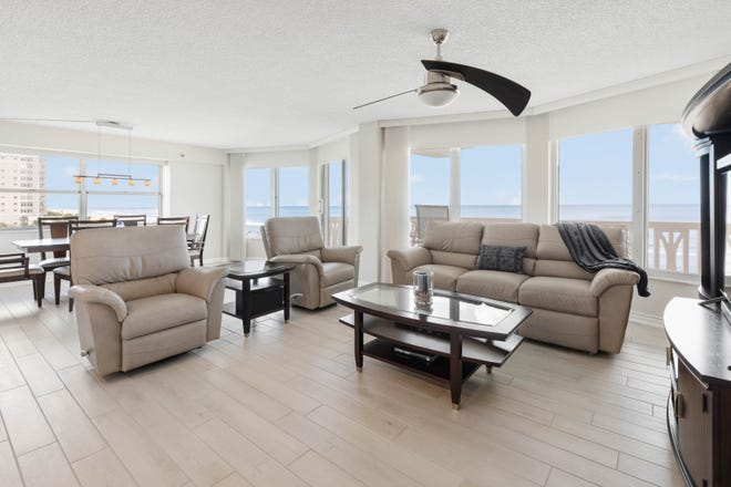 Completely renovated in 2021 and located on a no-drive beach, this luxury condominium in Ormond Beach offers views from almost every room.