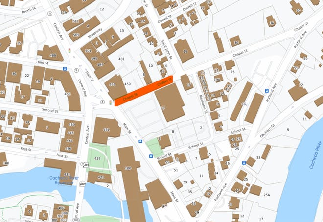 Chapel Street is closed from Main Street to near Saint John Street for utility work. Parking is also prohibited in that section of Chapel Street, which is marked in orange in the map.