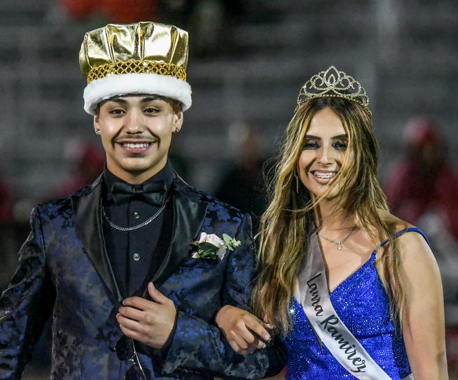 Garden City High School students Nathaniel Tabor, left, and Laura Ramirez have been crowned the fall homecoming king and queen, respectively. The pair were crowned during a halftime ceremony at Friday's football game against Liberal at Buffalo Stadium.