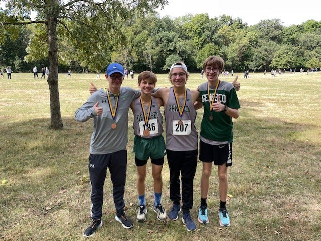 Justin Johnson, left; Dylan Gehl, Gavin Allision, and Sam Mosbarger were all Medalists in the recent Rock River Run held in Sterling.