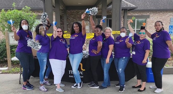 The Arc of East Ascension direct support staff members Niecka Pate, Kewanda Joshua, Traci Parson, Alessi Milan, Veranique Paton, Tara Laney, Sharon Morris,  Cindy Moore and Monique LaCaze. Not pictured: executive director, Raven LaBiche.