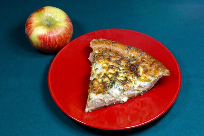 Apple and Cheddar Quiche with Olive Oil and Thyme Crust can be made with Honeycrisp apples, pictured here, or try Gala or Red Delicious.