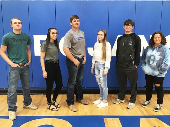 The 2021 Las Animas High School Homecoming senior king and queen candidates. From left, Caden Morlan, Alyssa Gonzales, Roper Nichols, Megan Melendez, Shad Chavez and Phoebe Frausto.