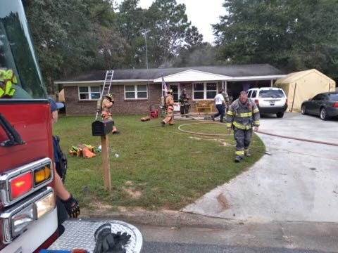 Crestview firefighters responded to a Wednesday morning house fire on Texas Parkway. Two dogs were killed and one firefighter was taken to an area hospital to be treated for injuries.