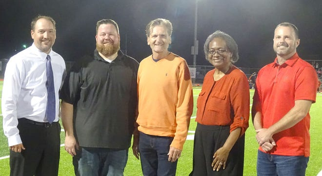 The Ottawa High School Wall of Fame inductees for 2020 and 2021 were introduced at halftime of the Cyclone football game. Ryan Cobbs, Blaine Finch, Troy Greisen, were the 2020 inductees; Kathleen Greene, widow of William Greene, and Josh Walker were part of the 2021 class. The other 2021 member was Claude Wilson.