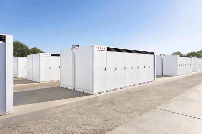Tesla Megapacks in Moss Landing, California.
