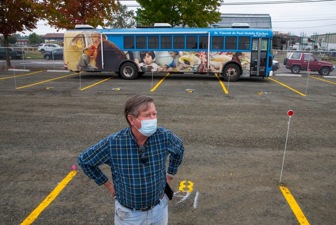 Terry McDonald of St. Vincent de Paul of Lane County tours the city of Eugene's first Safe Sleep site open now at 310 Garfield St.
