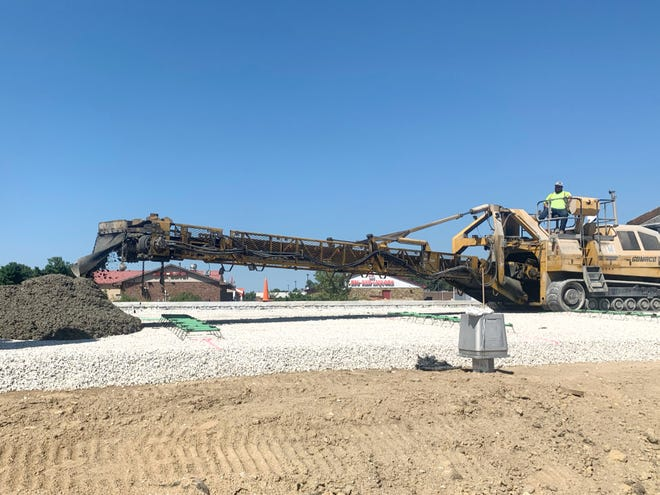 Concrete is poured along the future I-69 in Martinsville.