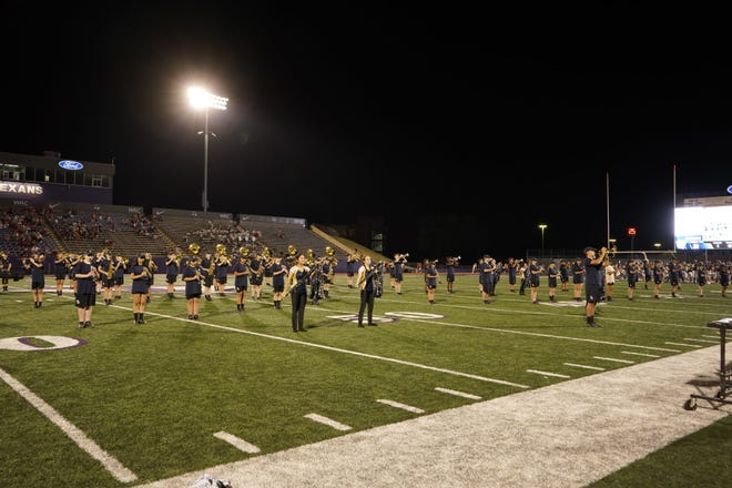 The Yellow Jacket Band, pictured here performing during halftime of the Stephenville/Salado football game earlier this season, earned Best in 4A and overall second place  in competition on Saturday at Mineral Wells. Their next marching competition is the Don Hanna Memorial Marching Contest at Collins Stadium in Denton on Saturday, Oct. 9. Prelim performance time is 10:30 a.m.