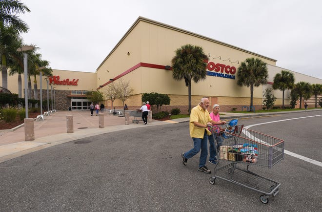 Shoppers leave Sarasota Square mall in 2019. The mall is now for sale.