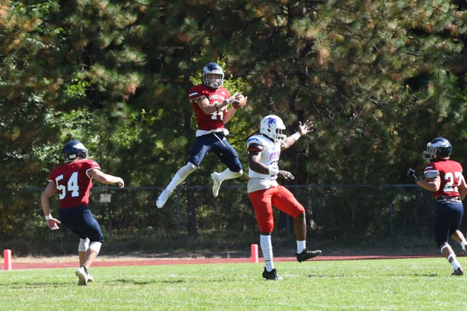 Mason Smith of College of the Siskiyous with one of his two interception against West Hills Coalinga Saturday, Oct. 2, 2021 in Weed.