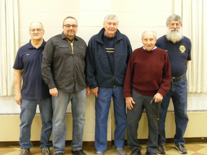 These members of the Salisbury Lions Club have helped organized Pancake and Sausage Dinners for the club for many years. From left, Steve Hoover, Scott Robinson, Jack Hillegas, Russell Wilson and Richard Shunk.