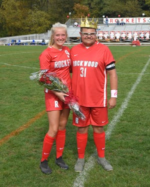 Kaitlyn Pletcher was crowned Rockwood Soccer Queen and Jaxson Conn was crowned Soccer King during Rockwood's Senior and Parent Day on Saturday.