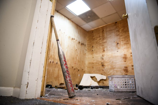 A room after a customer destroyed it at Wreck & Release rage rooms in Fayetteville.