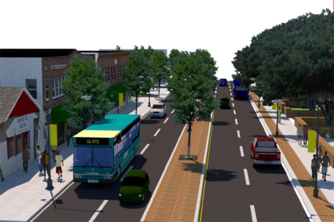 This artist's rendering shows a redesigned West University Avenue near the University of Florida campus, on the right, looking east from about 12th Avenue.