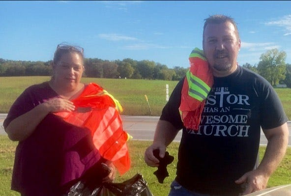 Love Never Fails United Christian Church adopted a portion of US 150 just outside Prospect. This cleanup is part of INDOT Adopt A Highway program and Love NeverFails will have a sign installed on the highway next month. Pictured Della Chatman and Pastor Jason Lindsey.