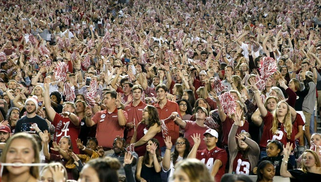 Alabama fans in the student section celebrate as 'Dixieland Delight' returns to Bryant-Denny Stadium Saturday, Oct. 13, 2018. [Staff Photo/Gary Cosby Jr.]