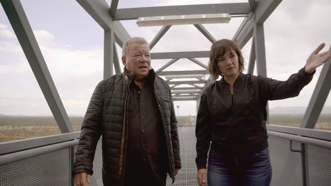 William Shatner and Audrey Powers, Blue Origin's vice president of mission and flight operations, are seen at the company's Texas launch site.