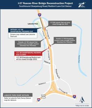 The Texas Department of Transportation announces night time closures as part of its $85 million project to widen and reconstruct key portions of the Interstate 37 Nueces River Bridge. This map spotlights detours that will take place on I-37 near Labonte Park.
