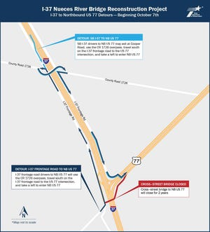 The Texas Department of Transportation announces night time closures as part of its $85 million project to widen and reconstruct key portions of the Interstate 37 Nueces River Bridge. This map spotlights detours that will take place on I-37 from County Road 1726 to Northbound US 77.