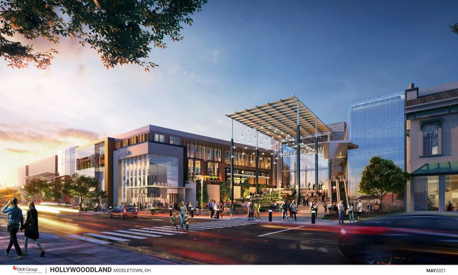 An artist's rendering of the main entrance to the planned Hollywoodland development in Middletown.