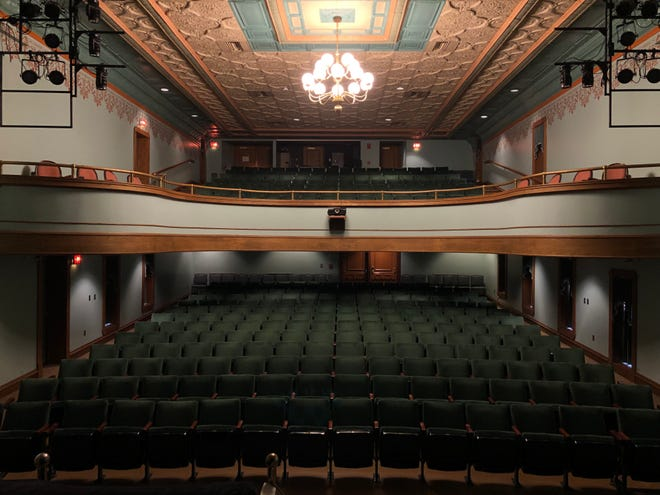 A view from the stage looking out at the audience at the Pella Opera House.