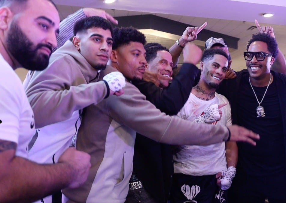 """From right to left: Dave Woods, Davante """"Stank"""" Shumate, Dave """"Bing"""" Shumate, Husam Mashhadi and Hamed Mashhadi all posing after the fight at the Bellagio Event Hall in Warren."""
