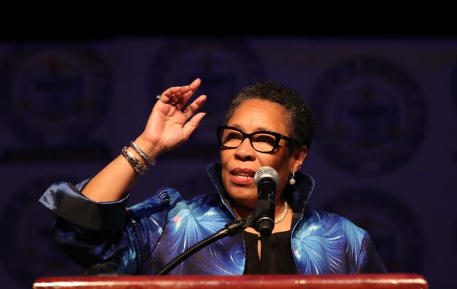 Secretary of HUD Marcia Fudge addresses members at the annual NAACP Fight For Freedom Fund dinner Sunday, Oct. 03, 2021 at the TCF Center.