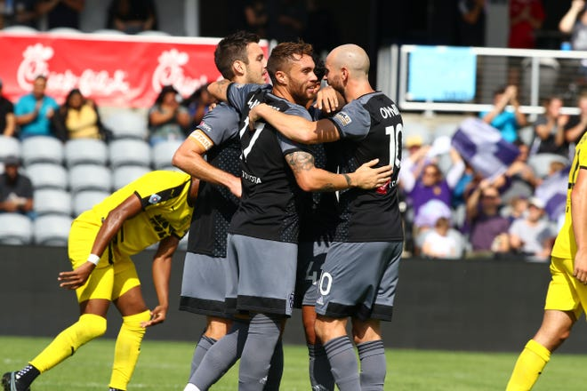 LouCity celebrated a goal against New Mexico United Sunday, Oct. 3, 2021. With the 3-1 home win, LouCity clinched a playoff spot.