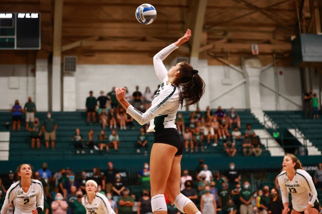 MSU's Cecilee Max-Brown hits the ball during the Spartans' match against Oakland on Sept. 17.