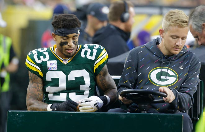 Green Bay Packers cornerback Jaire Alexander (23) is carted off the field after being injured during the third  quarter of their game Sunday, October 3, 2021 at Lambeau Field in Green Bay, Wis. Green Bay Packers beat the Pittsburgh Steelers 27-17.