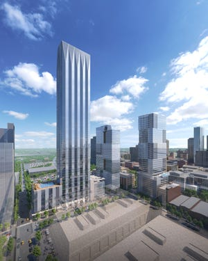 A rendering of the 60-story residential tower the YMCA selected Giarratana Development to build. If approved, it will be the city's largest residential tower. The plans to reimagine the Y's downtown property was revealed Oct. 4, 2021.