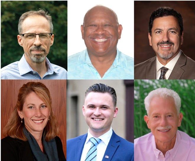 Farmington Hills' city council candidates. Top row, from left, includes Jon Aldred, Michael Bridges and Randy Bruce. Bottom row, from left, includes Valerie Knol, Jacob Kovacs and Matthew Strickfaden.