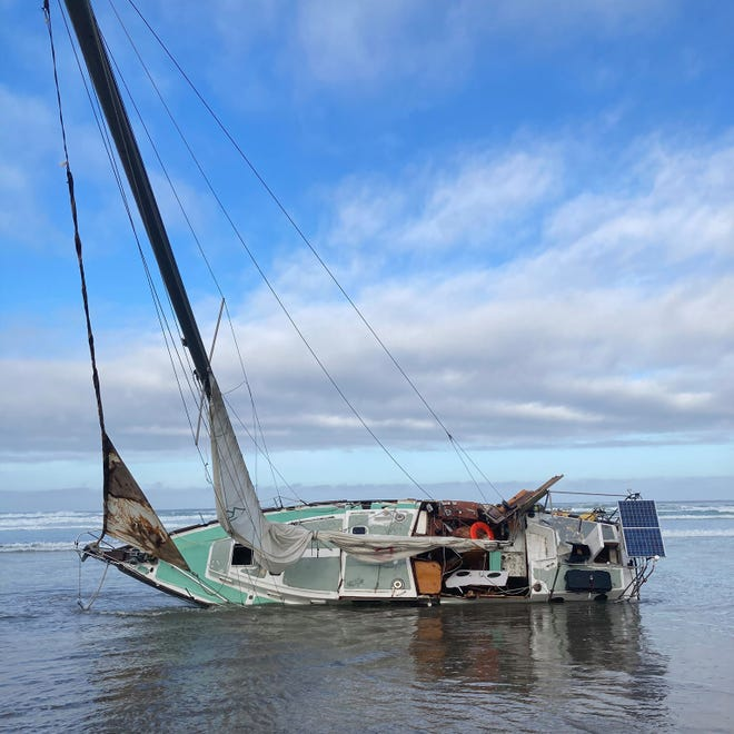 Two bodies were located after a 42' sailboard washed up on Nedonna Beach, north of Rockaway Beach on Sunday, Oct. 3, 2021.