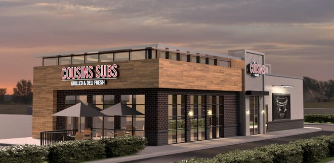 A rendering for a Cousins Subs planned for part of the former Kmart property in Stevens Point.