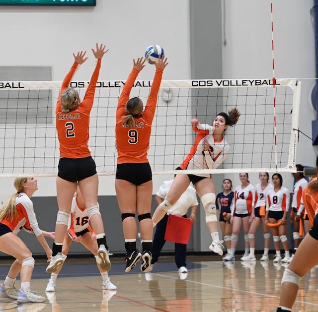 College of the Sequoias' Allyson Garcia attacks against Reedley on Sept. 29 at Porter Field House.