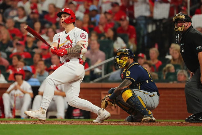 Tyler O'Neill (27) of the St. Louis Cardinals hits a double against the Milwaukee Brewers in the third inning at Busch Stadium on Sept. 28, 2021 in St Louis.