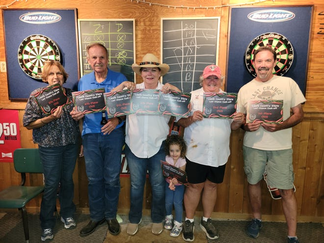 Leon's Country Store held a Last Chance Chili Cook-off on Sept. 25, and some of the big winners were, (left to right) Kathy Nolte, Dwight Hamilton, Jamie Brown, Charlie Schneider (Janet's granddaughter), Janet Matthews and Clem Dial.