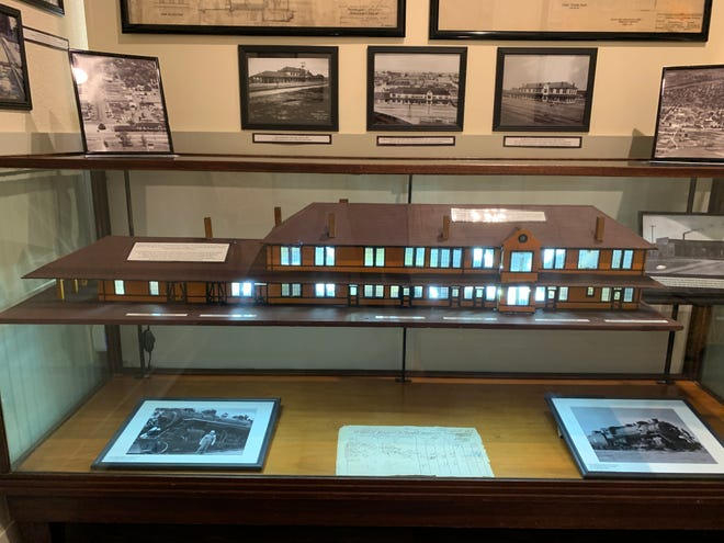 A miniature model of the MKT Line Depot is shown at the James H. Long Railroad Museum, which is housed in the new Smithville Chamber of Commerce building.