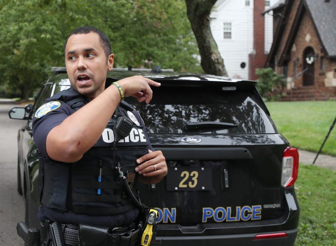 Akron police officer Will Culver was off-duty when he chased and caught a man who is a person of interest in multiple attempted break-ins.