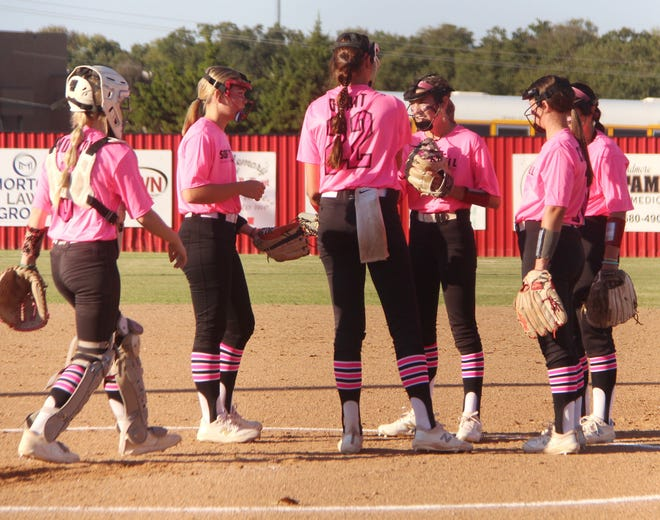 A group of Lady Indians gather in the circle during a 5-0 shutout of Norman at home Monday. Plainview is set to host a 4A Regional this week, opening play against Seminole at 2 p.m. Thursday, Oct. 7.