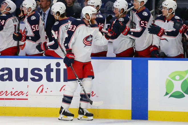 Columbus Blue Jackets forward Jakub Voracek (93) celebrates his goal during the first period of a NHL preseason hockey game against the Buffalo Sabres, Monday, Oct. 4, 2021, in Buffalo, N.Y.